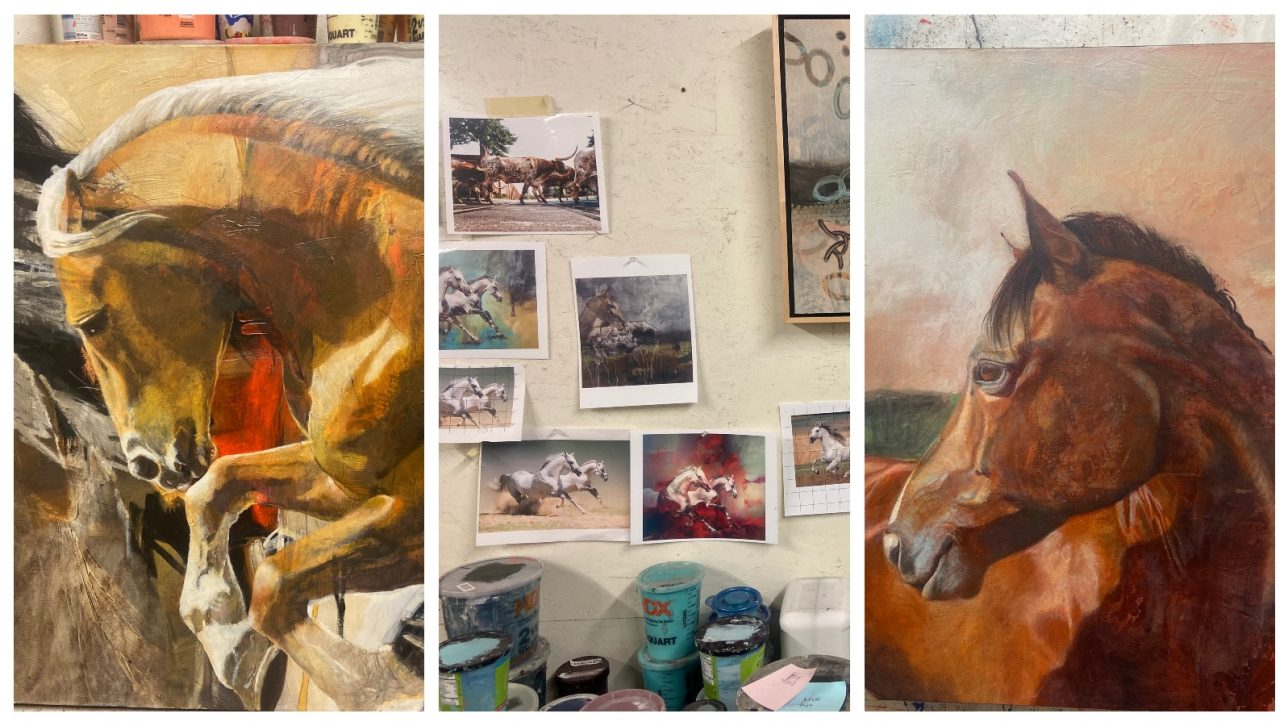 Karen Roehl's studio and details of two horse paintings