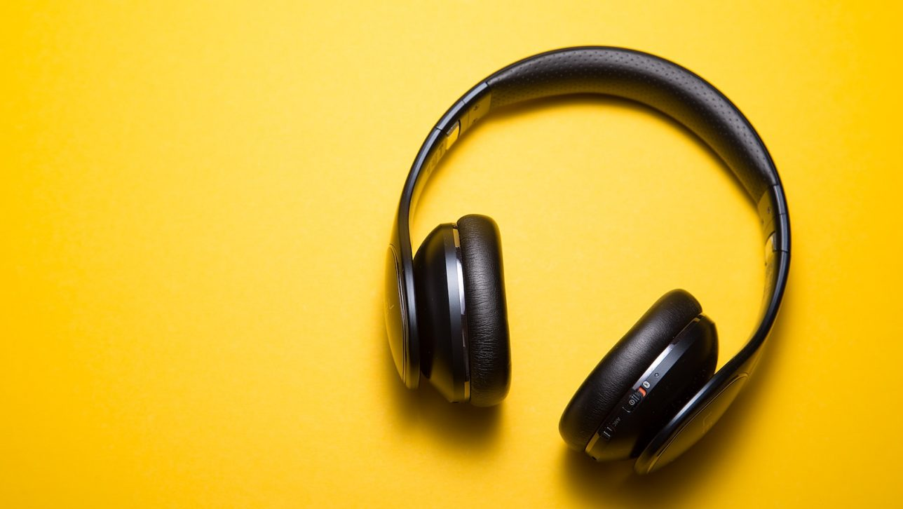 A pair of yellow headphones