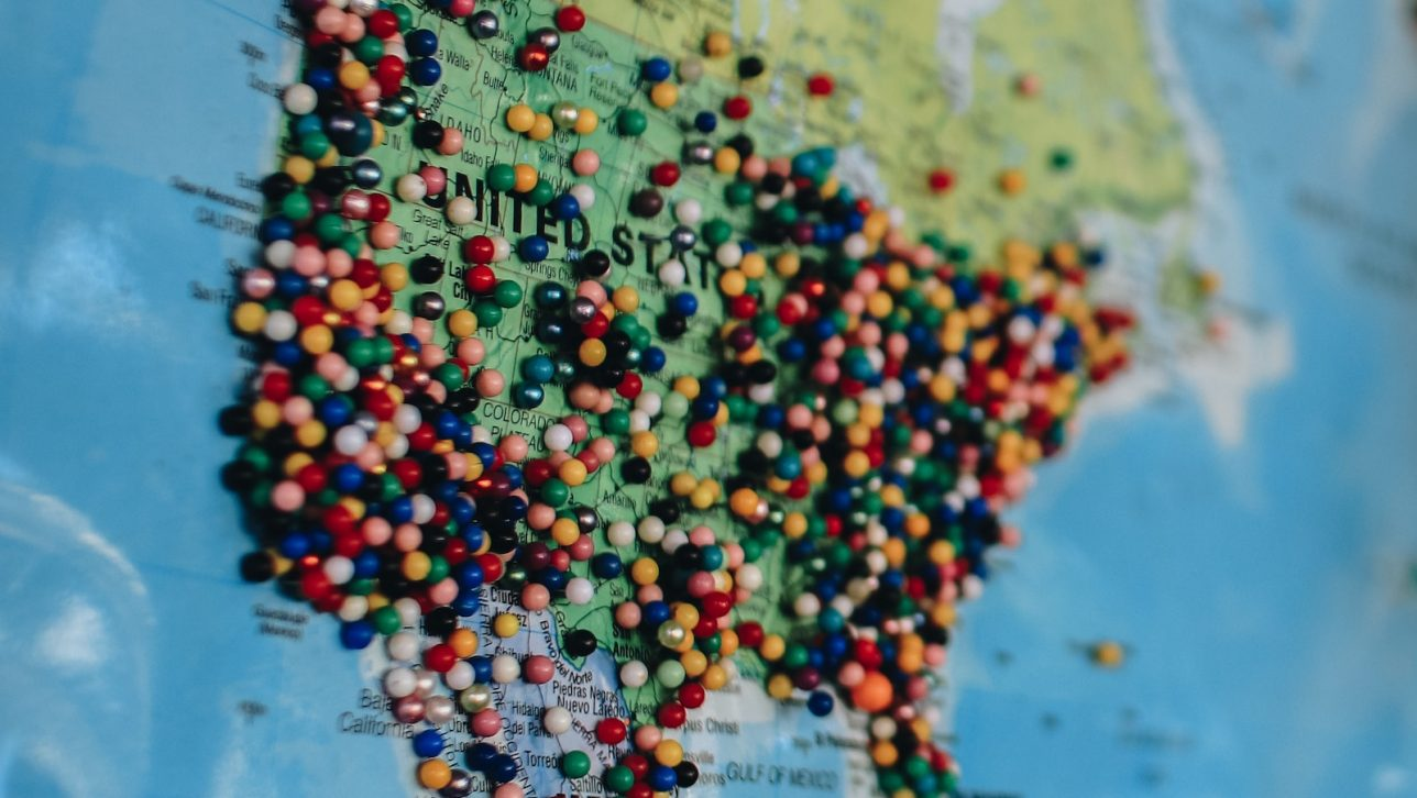 Map of the United States with pins