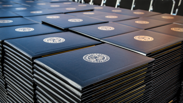 Diplomas displayed at Commencement