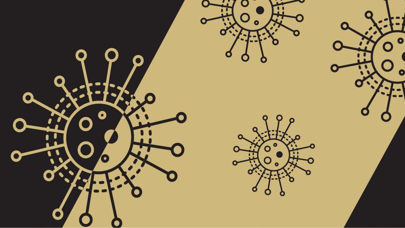 coronavirus graphic black and gold