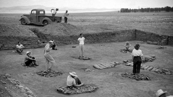 digging, archaeology, Pueblo Pines