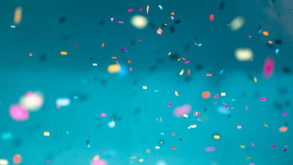 Confetti on blue background