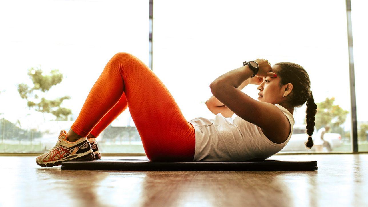 Women exercising indoors