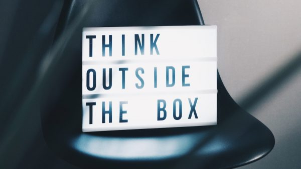 Light box with the words think outside the box
