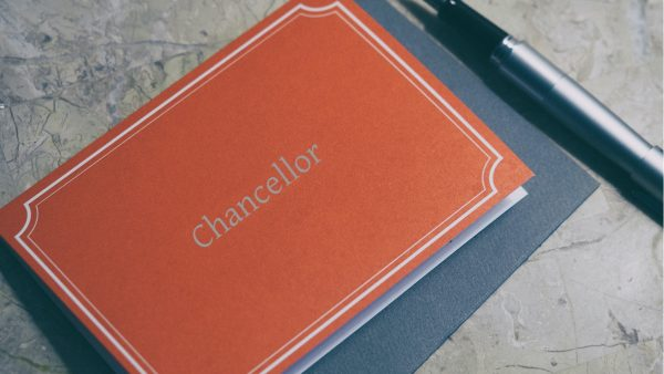 leather book that says chancellor on cover