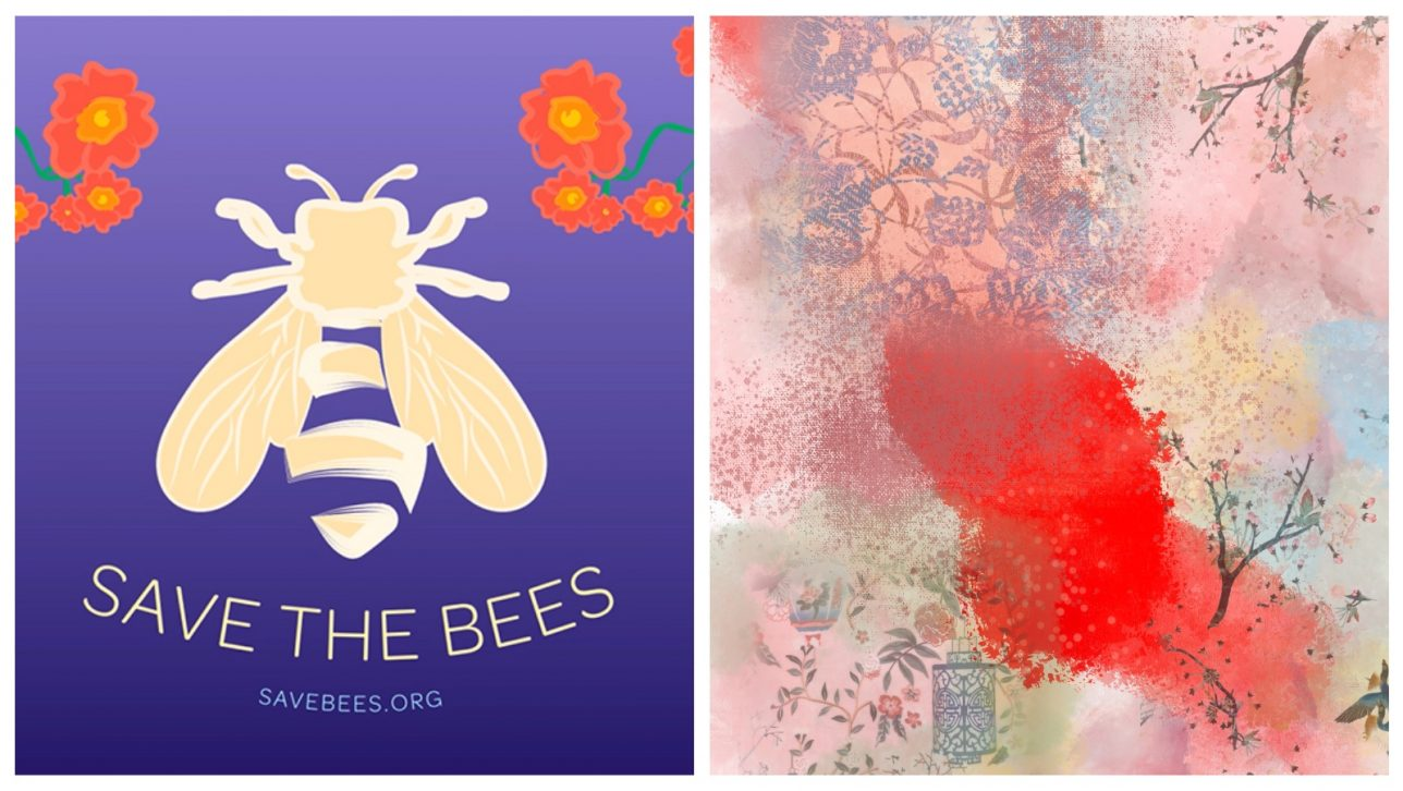 save the bees art and digital art with trees and flowers