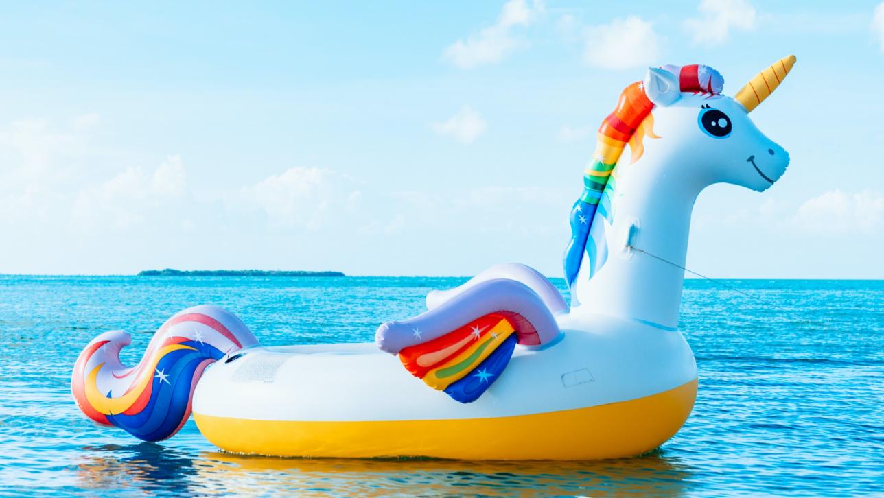 rainbow raft on water