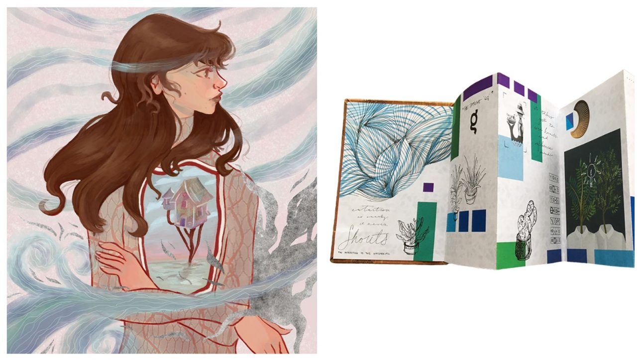 drawing of girl and handmade book