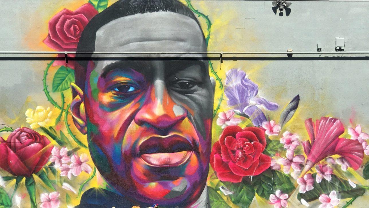 detail of George Floyd mural in Denver