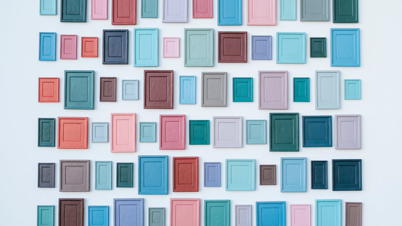 wall of painted frames