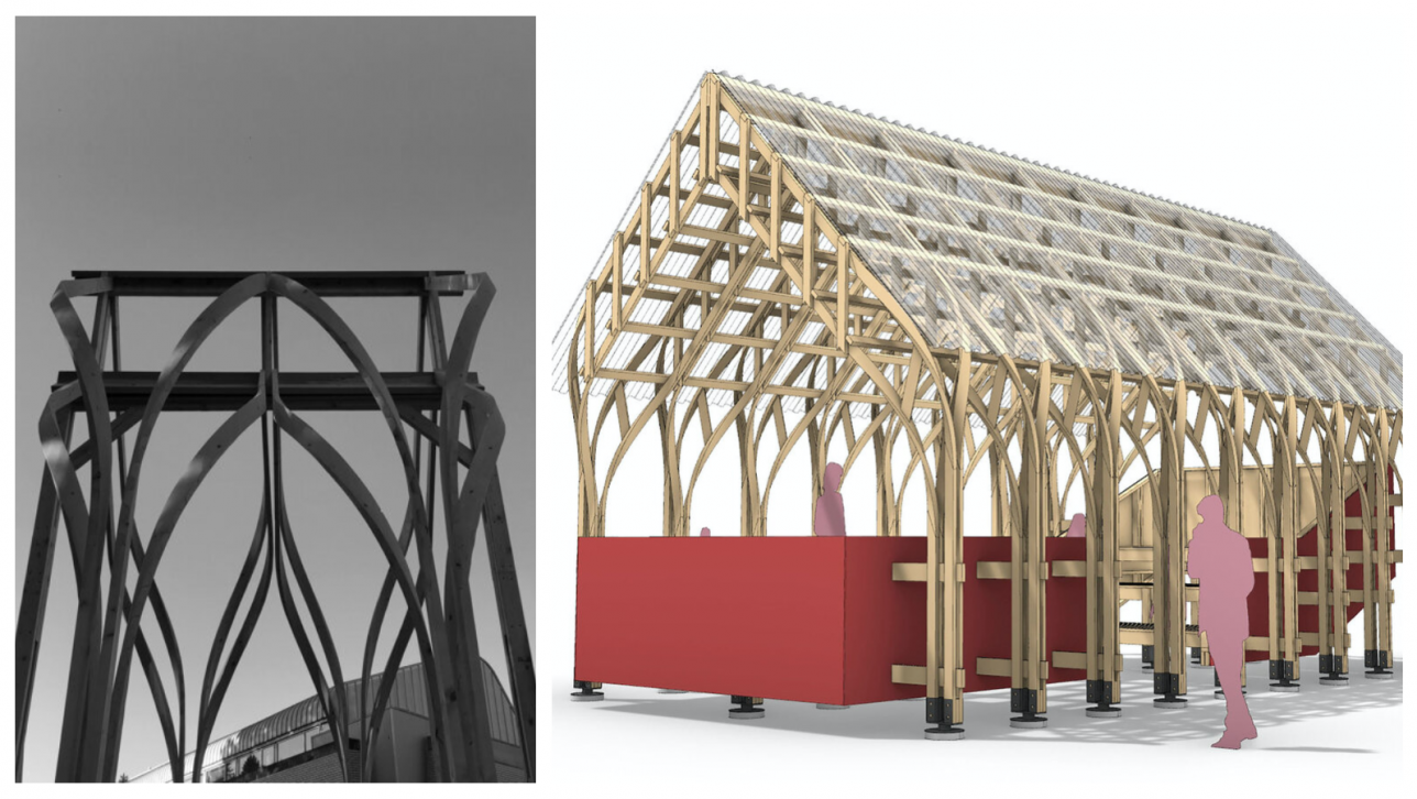 detail and drawing of zippered pavilion
