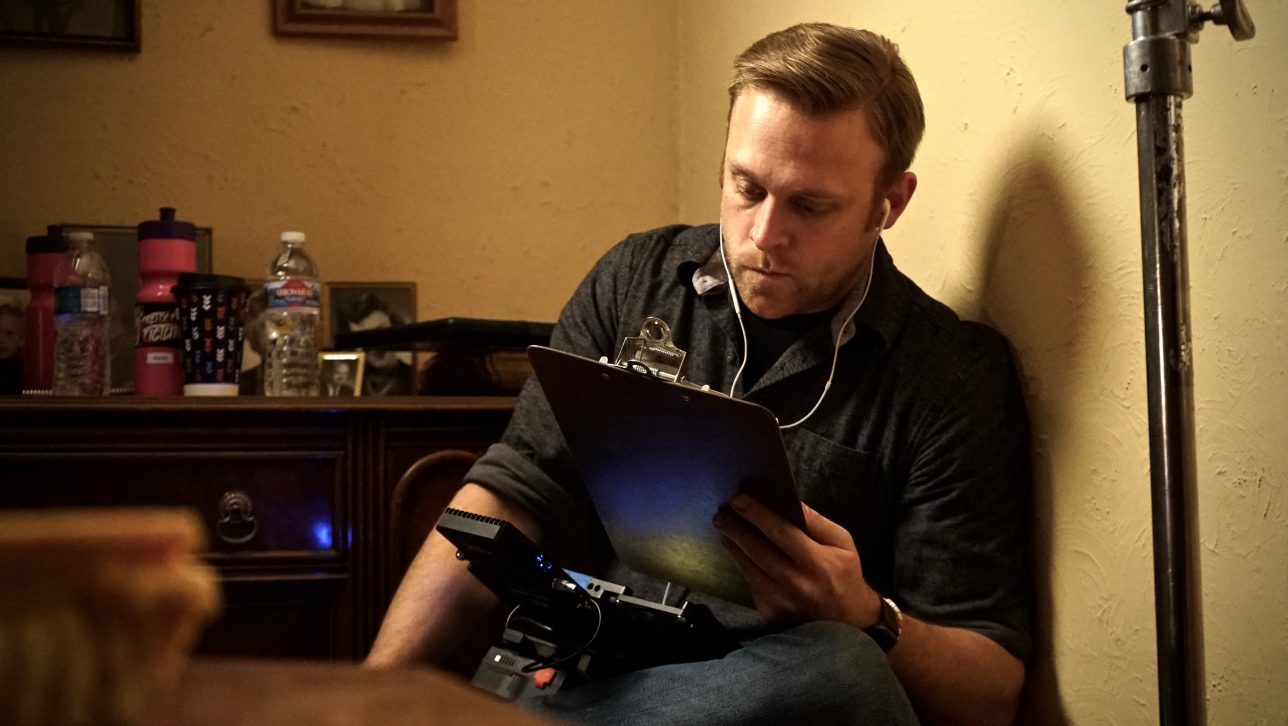Writer and director Jon Stevenson on set