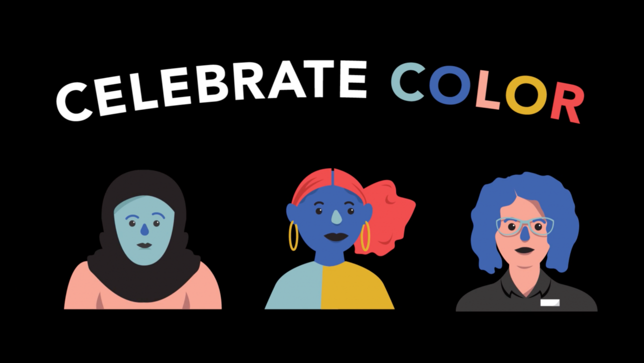 cartoon with three women that says celebrate color