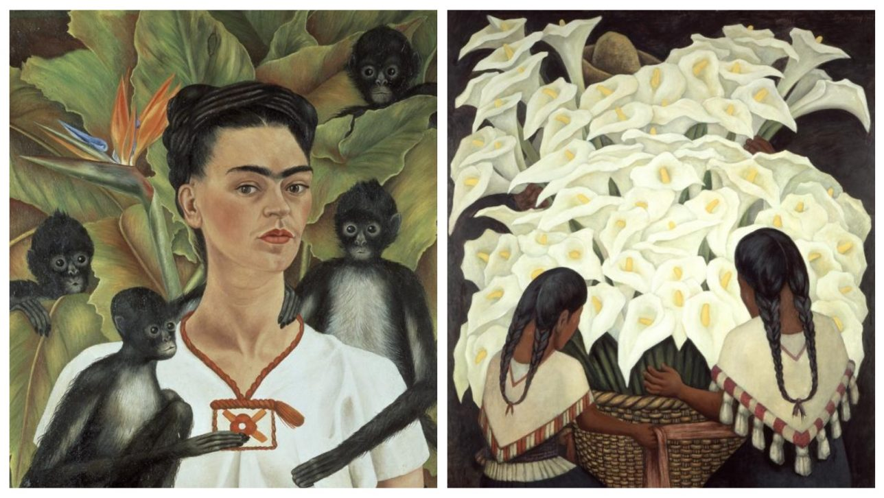 paintings by Frida Kahlo and Diego Rivera