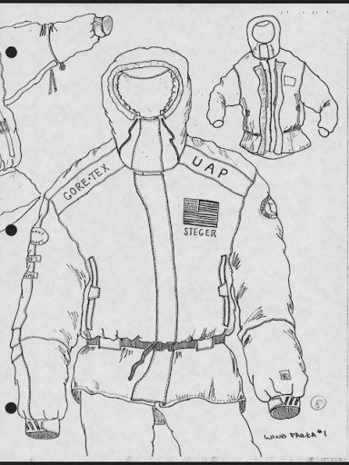 The North Face jacket design for expeditions featuring sponsor logos.