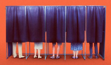 People at ballot booth