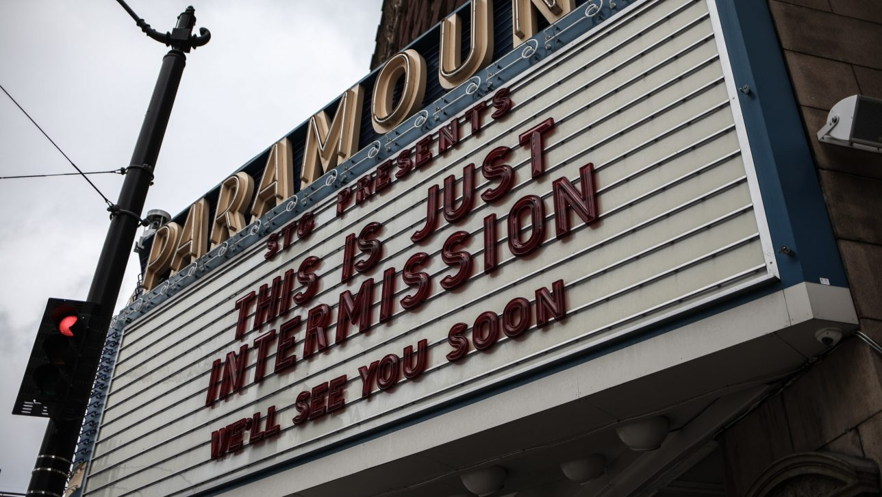 "A sign during COVID-19 outside of a music venue that reads, ""This is just intermission. See you soon"""