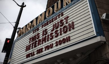 """A sign during COVID-19 outside of a music venue that reads, """"This is just intermission. See you soon"""""""