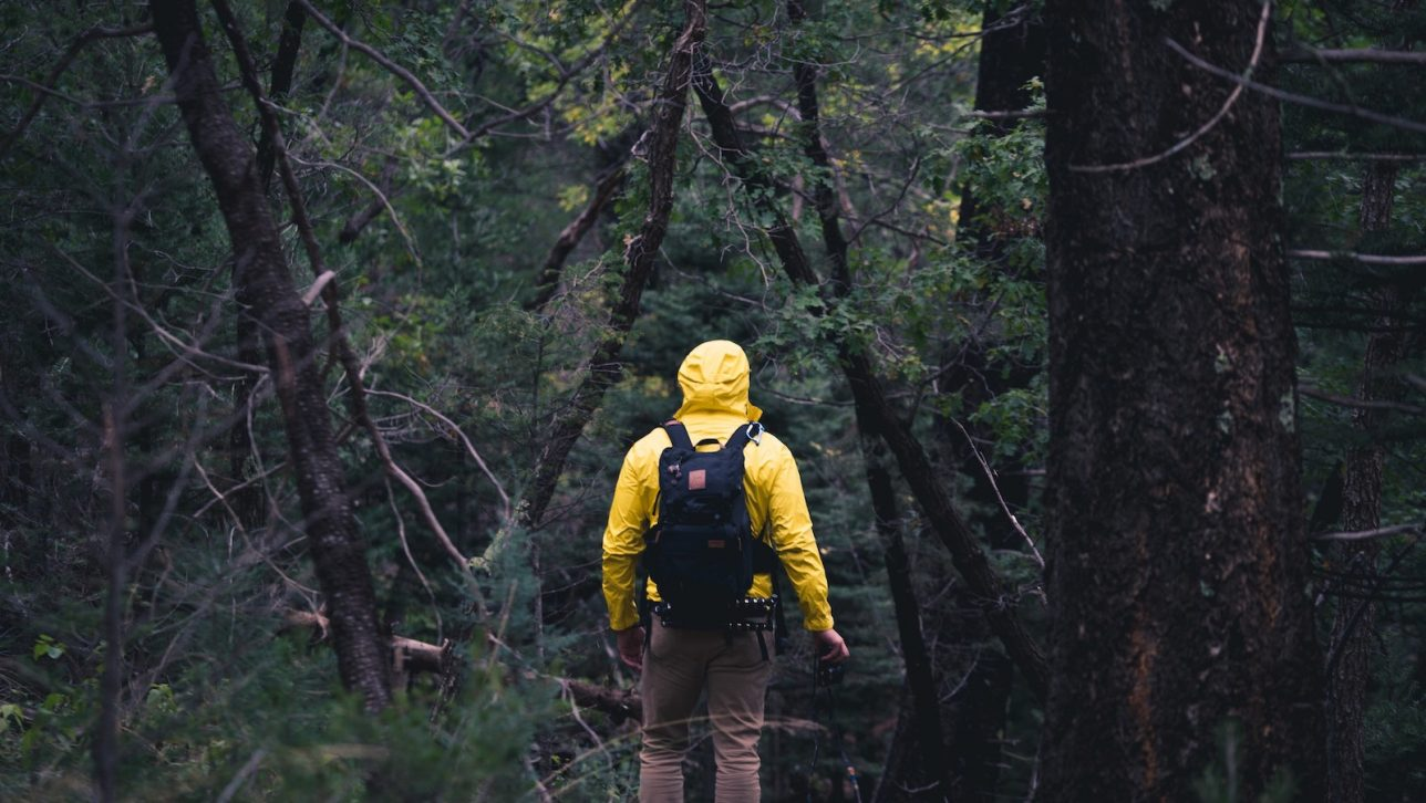 Man with raincoat walking in forest