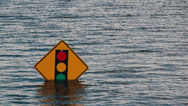 floodwaters, stop sign