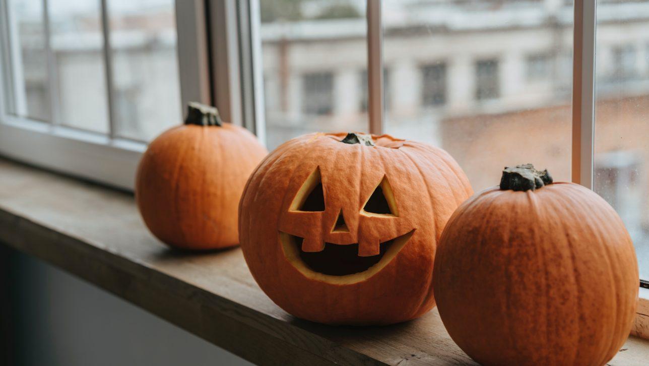 Pumpkins in window