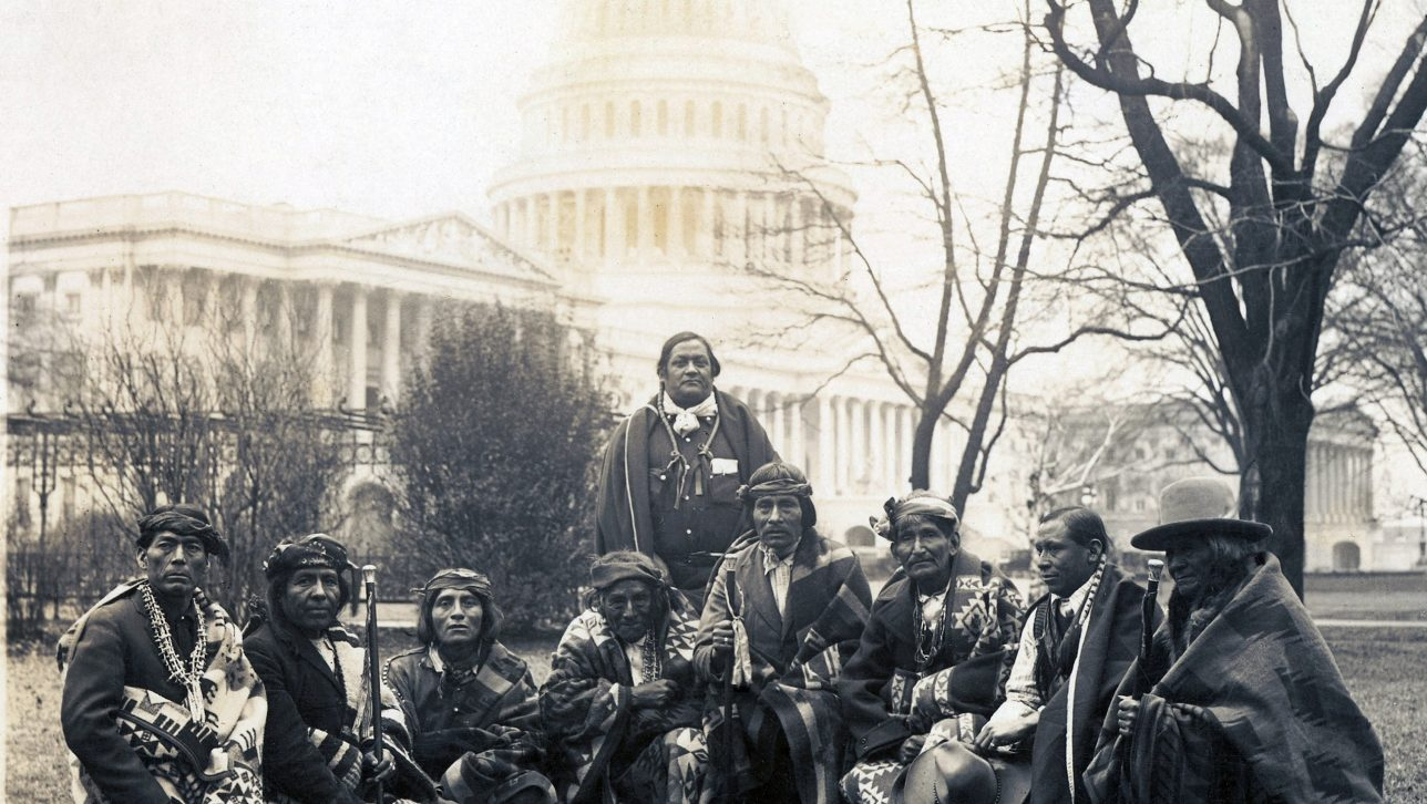 Pueblo Indians in front of capitol in Washington D.C. in 1923