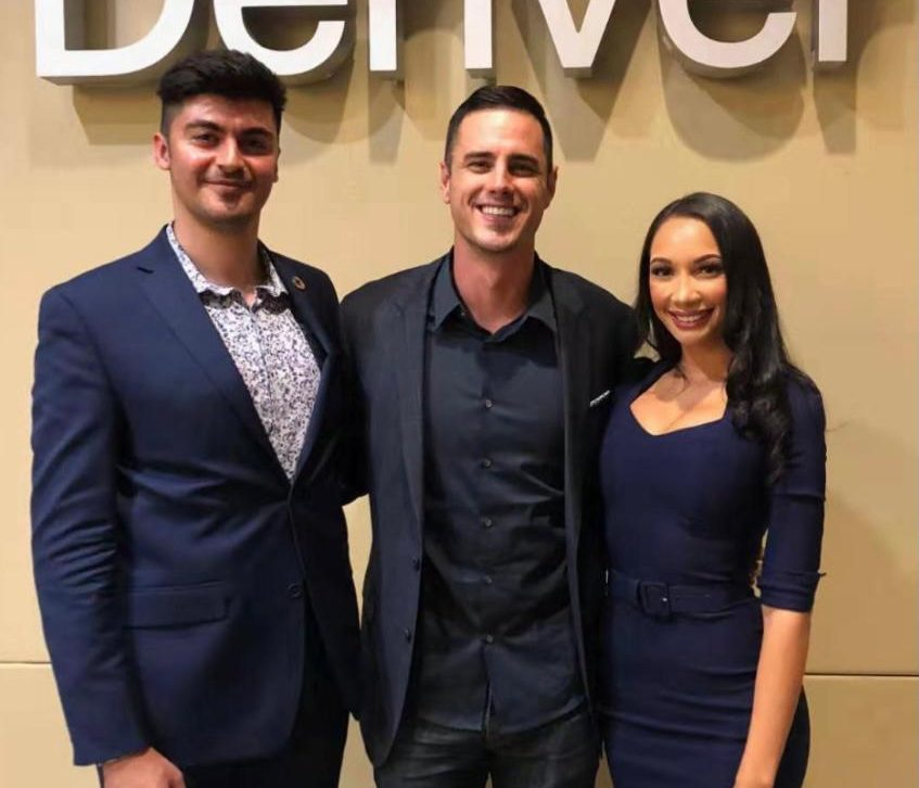 Hardy and Nirvana Polonyi with Ben Higgins during their GenUN's Social Responsibility in International Companies event at CU Denver.