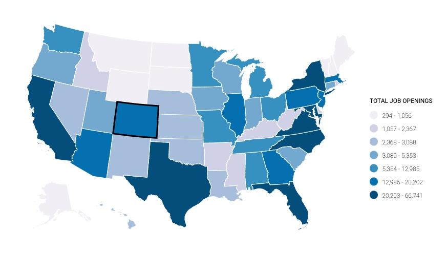 U.S. map showing job openings in cybersecurity