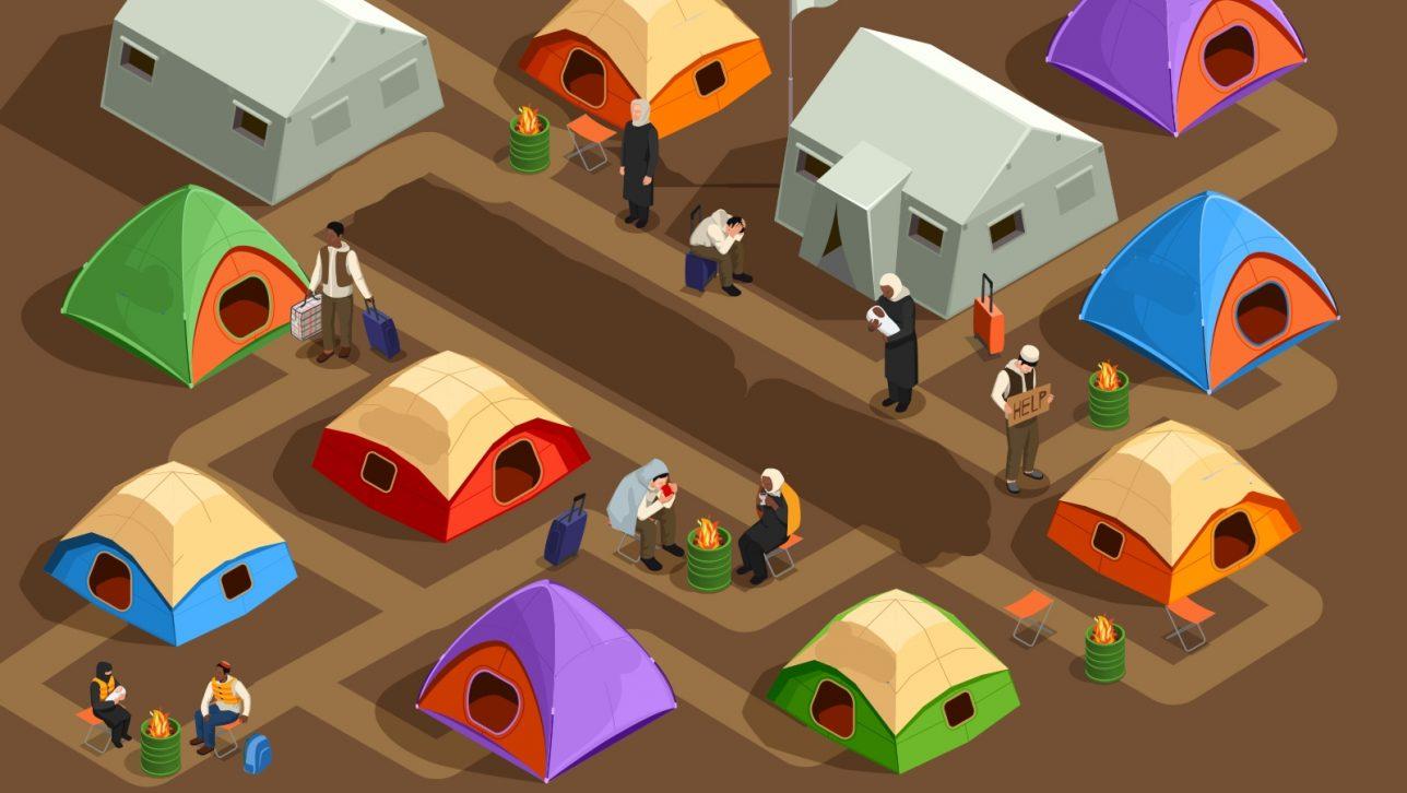 """tent city; <a href=""""https://www.freepik.com/vectors/human"""">Human vector created by macrovector - www.freepik.com</a>"""