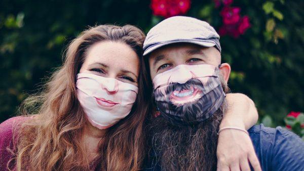 People smiling masks