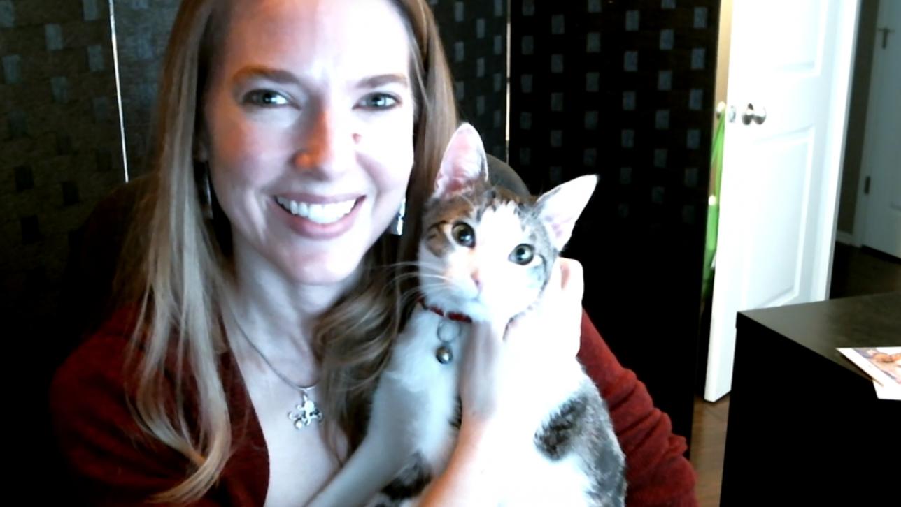 Professor Hodgkins with cat