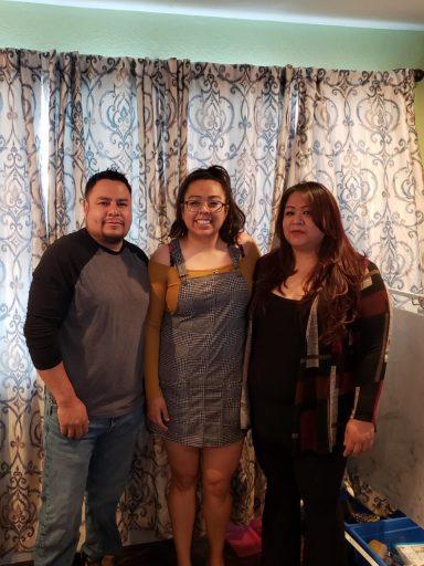 Teiriana Ibarra with her parents