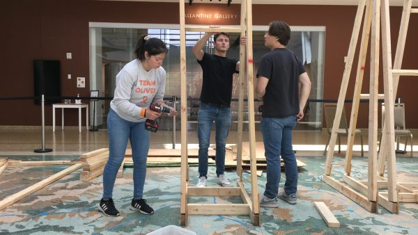 Students helping with building denver