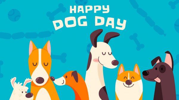 Happy Dog Day illustration with six happy dogs. Photo courtesy of Freepik.com.
